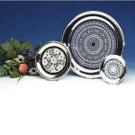 Glass Plate with Silver-Plated Beaded Rims