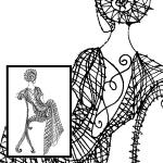 Klöppelbrief sitzende Dame