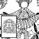 Klöppelbrief Krippe, Maria und Josef mit Engel