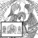 Klöppelbrief Krippe mit Maria und Josef