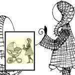 Klöppelbrief Kind mit Kinderwagen