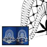 Klöppelbriefe für Holzrahmen Glocke mit Motiv