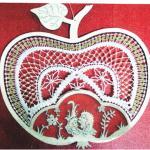 Klöppelbrief für Rahmen Apfel