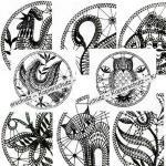 Klöppelbriefe Muster im Ring  (Ø: 14,5 cm)
