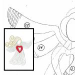Klöppelbrief Engel mit Herz