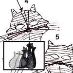 Klöppelbrief Katzenfamilie