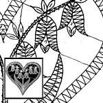 Klöppelbrief Glockenblumen-Herz (Gr. 4)