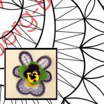Klöpppelbrief Blütendeckchen VIOLA