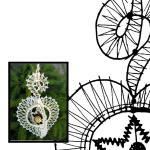 Klöppelbrief Weihnachten 3D -Herz mit Stern