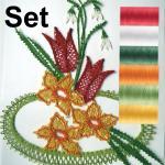 SET spring-fower, pattern + 6x yarn