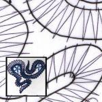 Klöppelbrief Spirale mit Blätter