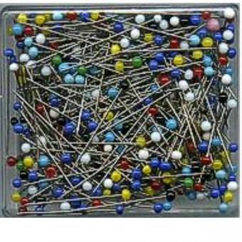Glass Head Pins, colored glass head sorted