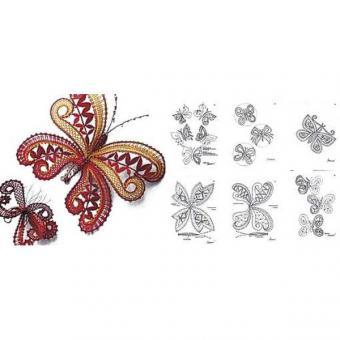 Klöppelbrief Schmetterling, 14 Motive