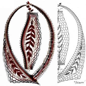 Klöppelbriefe Halsschmuck und Armreifen