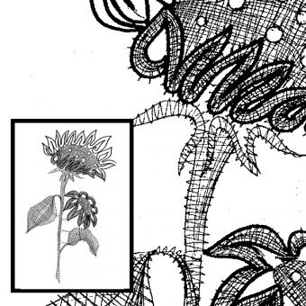 Klöppelbrief Sonnenblume