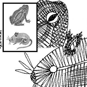 Klöppelbrief Frosch und Maus
