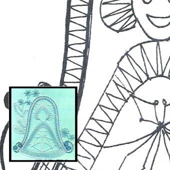 Klöppelbrief Glocke mit Engel