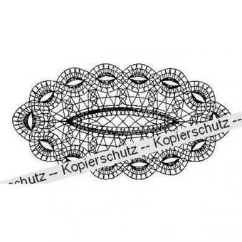 Klöppelbrief Decke oval 15 x 30 cm