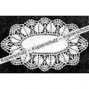 Klöppelbrief Decke oval 20 x 30 cm