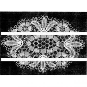 Klöppelbrief Decke oval 32 x 46 cm