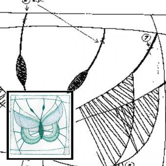 Klöppelbrief Schmetterling 1 SET mit Garn