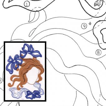 Klöppelbrief Kopf mit Blüte