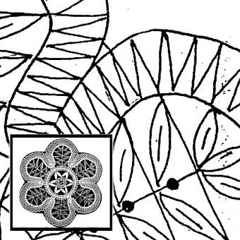 Klöppelbrief Blumenmotiv