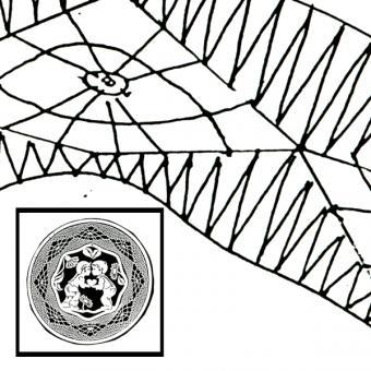 """Klöppelbrief Fensterbild """"das Kussel"""" (Ø: 19 cm)"""