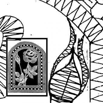 Klöppelbrief Rose mit Knospe (Gr. 6)