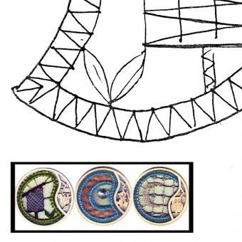 Klöppelbrief für Holzring mit Motiv