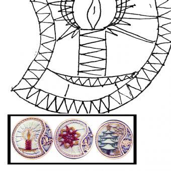 Klöppelbrief für Holzringe mit Motiv