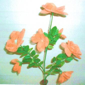 Klöppelbrief - Geklöppelte Blumen - Biedermeierrose