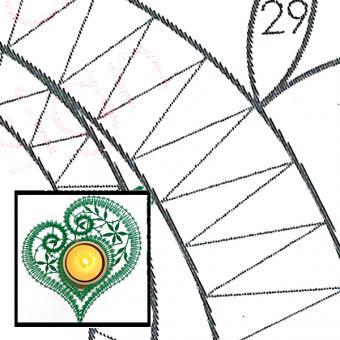 Klöppelbrief Herz Immergrün für Holz-Teelichthalter
