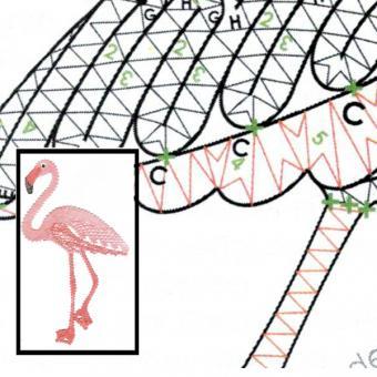Klöppelbrief Flamingo