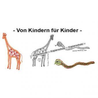 Klöppelbrief Giraffe & Schlange