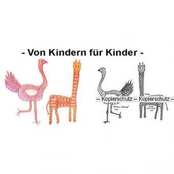 Klöppelbrief Strauß & Giraffe