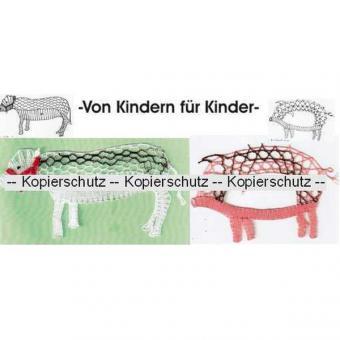 Klöppelbrief Schwein & Kuh
