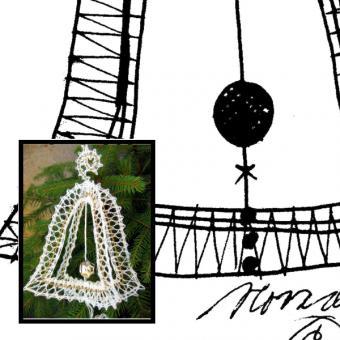 Klöppelbrief Weihnachten 3D -Glocke
