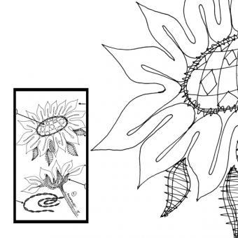 Klöppelbrief 2 Sonnenblumen