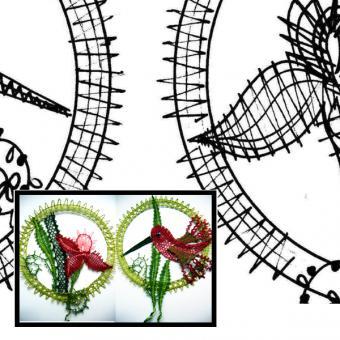 Klöppelbrief Kolibri + Blume