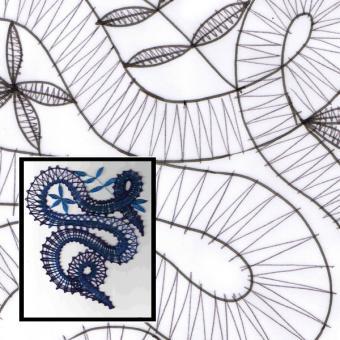 Klöppelbrief Spirale mit Stern