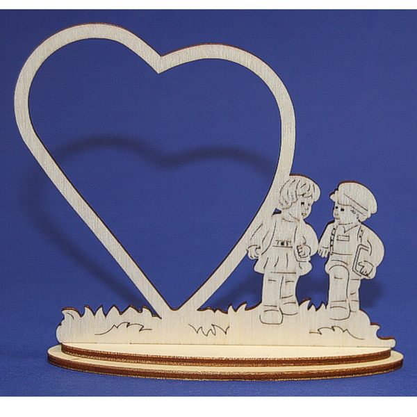Wooden Frame Heart with Children