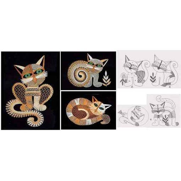 Klöppelbrief Katzen, 7 Motive