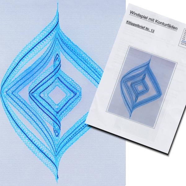 Klöppelbrief Windspiel hellblau