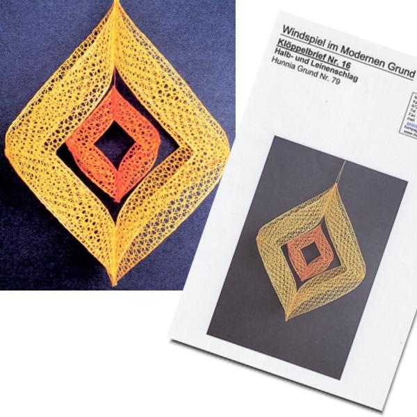 Klöppelbrief Windspiel gelb-orange