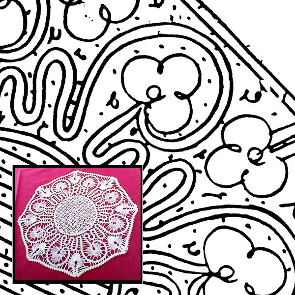 Klöppelbrief Decke achteckig