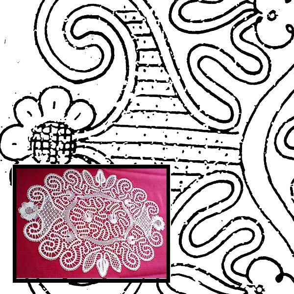 Klöppelbrief Decke oval
