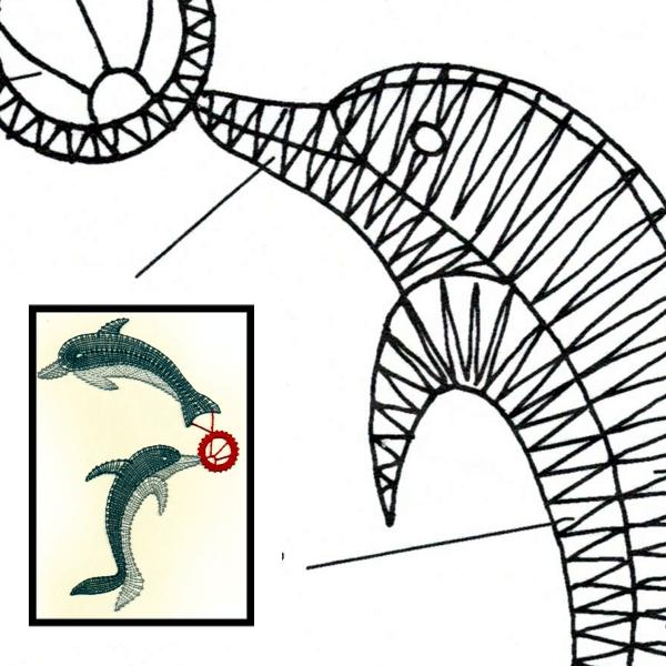 Klöppelbrief Delfine