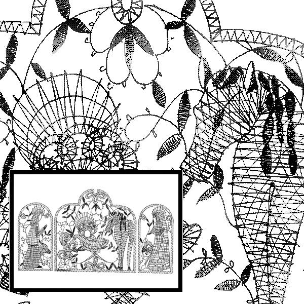 Klöppelbrief Krippe mit Esel