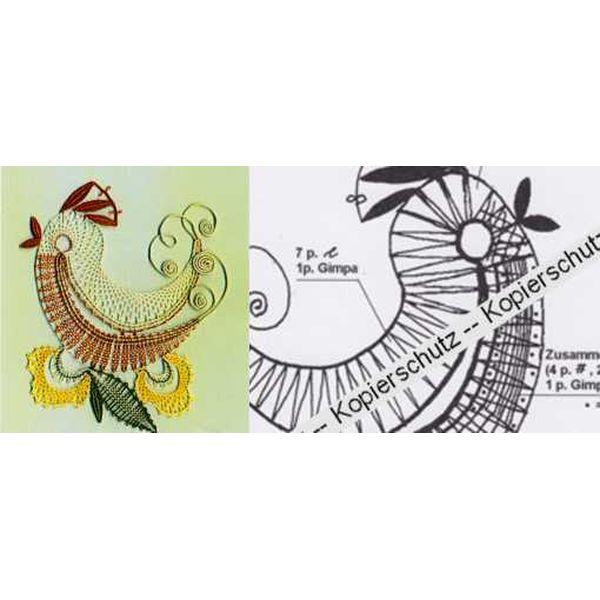 Klöppelbrief Vogel mit Gimpe